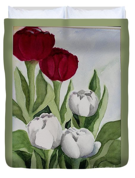 Red And White Tulips Duvet Cover