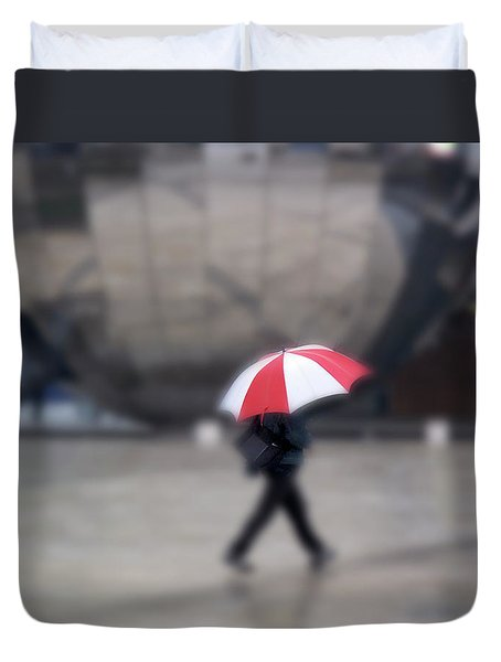 Red And White Umbrella Duvet Cover