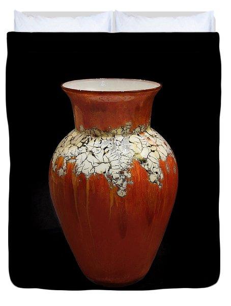 Red And White Vase Duvet Cover