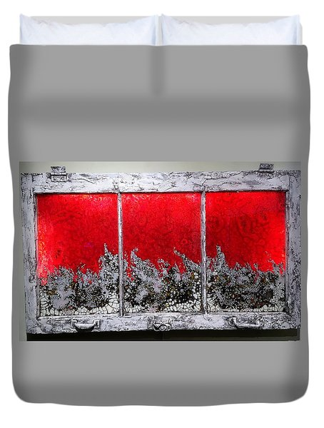 Red And White Window # 1 Duvet Cover