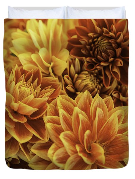 Red And Yellow Dahlias Duvet Cover