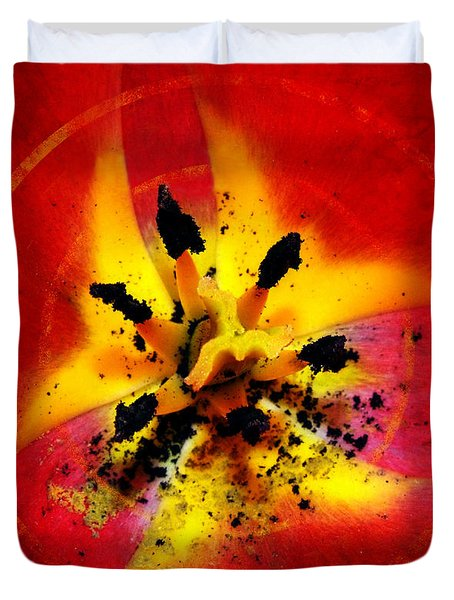 Red And Yellow Flower Duvet Cover by Judi Saunders