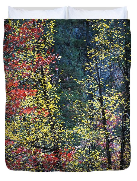 Red And Yellow Leaves Abstract Vertical Number 2 Duvet Cover by Heather Kirk
