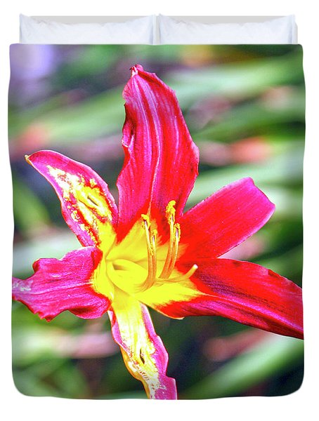 Red And Yellow Orchid Duvet Cover