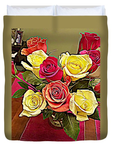 Red And Yellow Rose Bouquet Duvet Cover