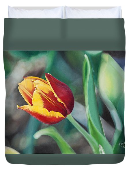 Duvet Cover featuring the painting Red And Yellow Tulip by Joshua Martin