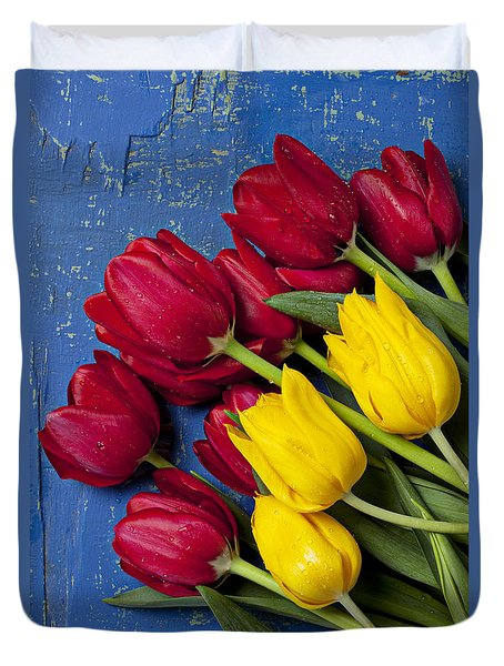 Red And Yellow Tulips Duvet Cover by Garry Gay