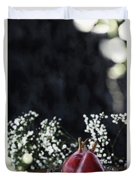 Duvet Cover featuring the photograph Red Anjou Pears by Stephanie Frey