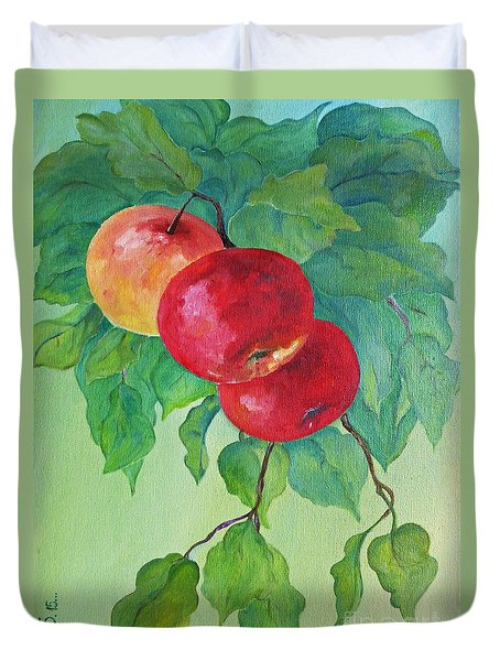 Red Apples Duvet Cover by AmaS Art