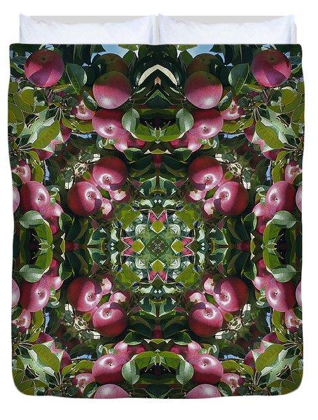 Red Apples Kaleidoscope Duvet Cover