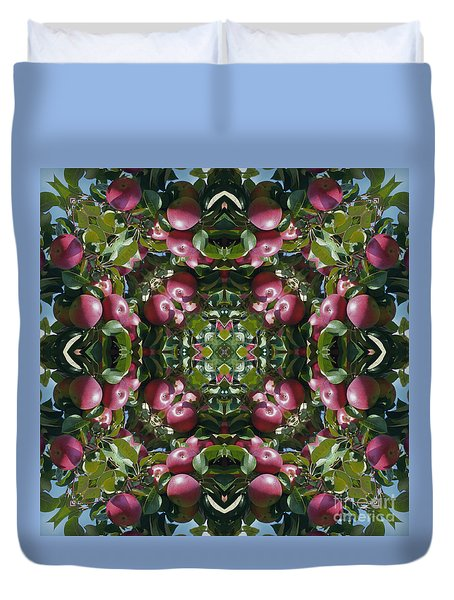 Red Apples Kaleidoscope Duvet Cover by Smilin Eyes  Treasures