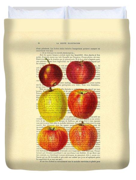 Red Apples Still Life Vintage Illustration Duvet Cover
