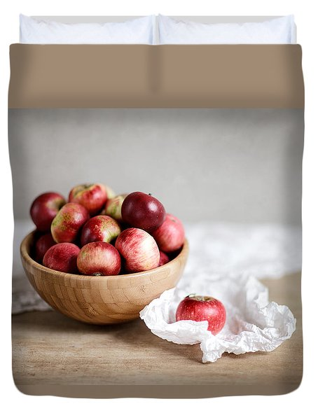 Red Apples Still Life Duvet Cover by Nailia Schwarz