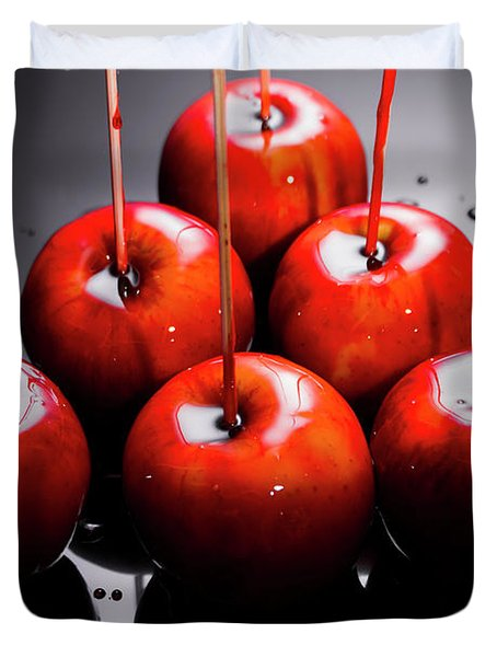 Red Apples With Caramel  Duvet Cover