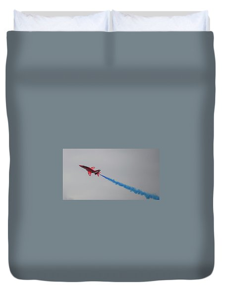 Duvet Cover featuring the photograph Red Arrow Blue Smoke - Teesside Airshow 2016 by Scott Lyons