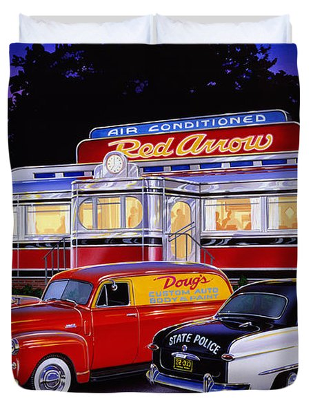 Red Arrow Diner Duvet Cover by Bruce Kaiser