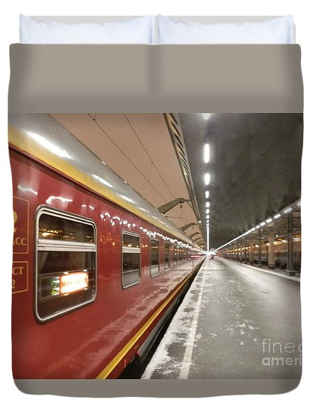 Red Arrow Express Duvet Cover by Margaret Brooks