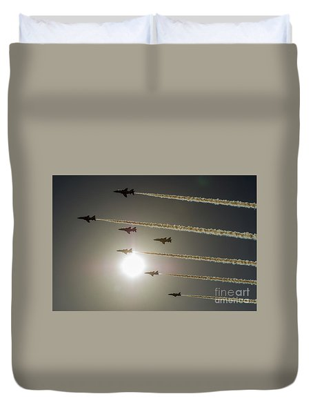 Duvet Cover featuring the photograph Red Arrows Backlit Arrival  by Gary Eason