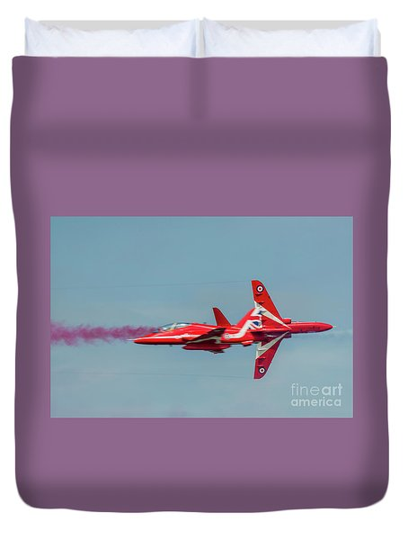 Duvet Cover featuring the photograph Red Arrows Crossover by Gary Eason