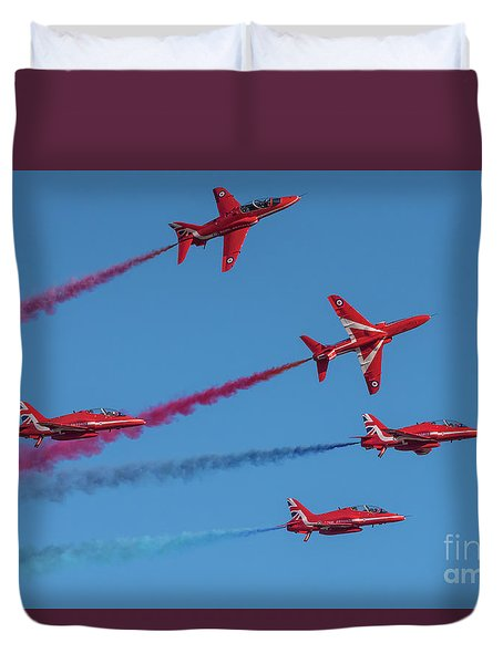 Duvet Cover featuring the photograph Red Arrows Enid Break by Gary Eason