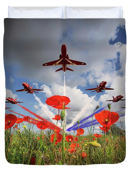 Red Arrows Poppy Fly Past Duvet Cover