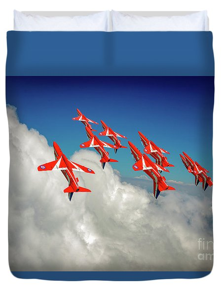 Duvet Cover featuring the photograph Red Arrows Sky High by Gary Eason