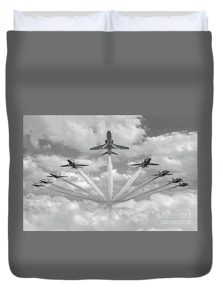 Duvet Cover featuring the photograph Red Arrows Smoke On Bw Version by Gary Eason