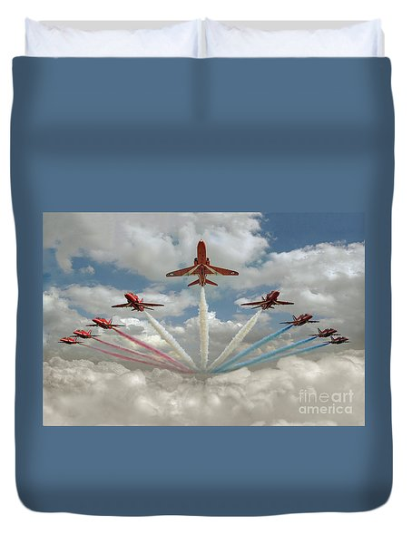 Duvet Cover featuring the photograph Red Arrows Smoke On  by Gary Eason