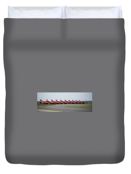Duvet Cover featuring the photograph Red Arrows - Teesside Airshow 2016 Aircraft Check by Scott Lyons