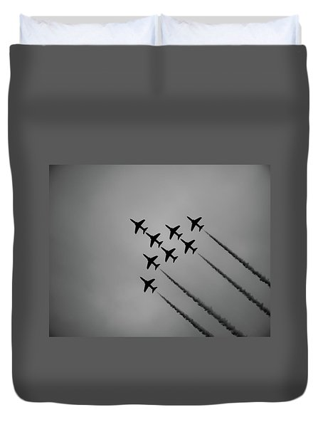 Duvet Cover featuring the photograph Red Arrows - Teesside Airshow 2016 Silhouette by Scott Lyons