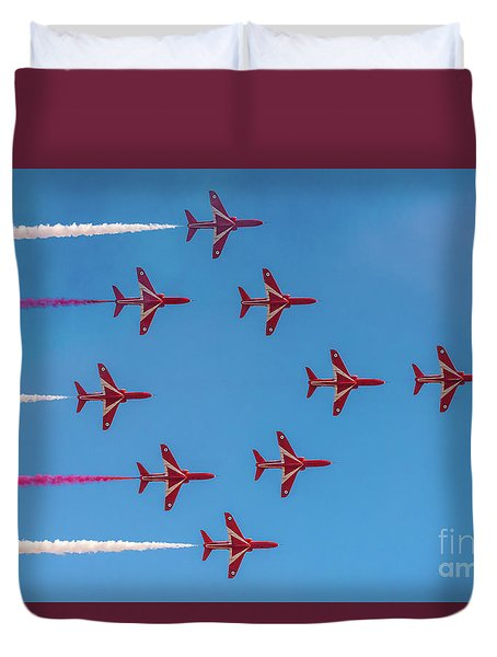 Duvet Cover featuring the photograph Red Arrows Typhoon Formation by Gary Eason