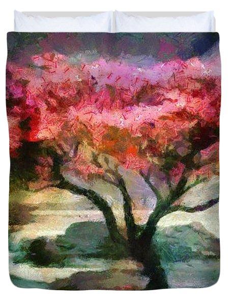 Red Autumn Tree Duvet Cover
