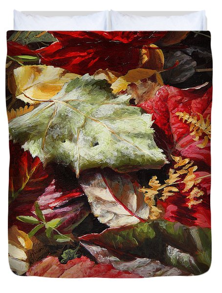Duvet Cover featuring the painting Red Autumn - Wasilla Leaves by Karen Whitworth