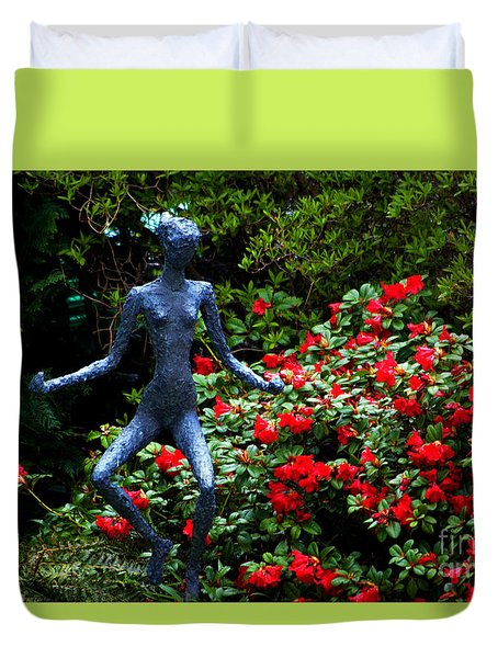Duvet Cover featuring the photograph Red Azalea Lady by Susanne Van Hulst