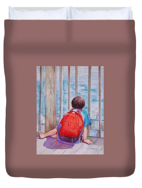 Red Backpack Duvet Cover