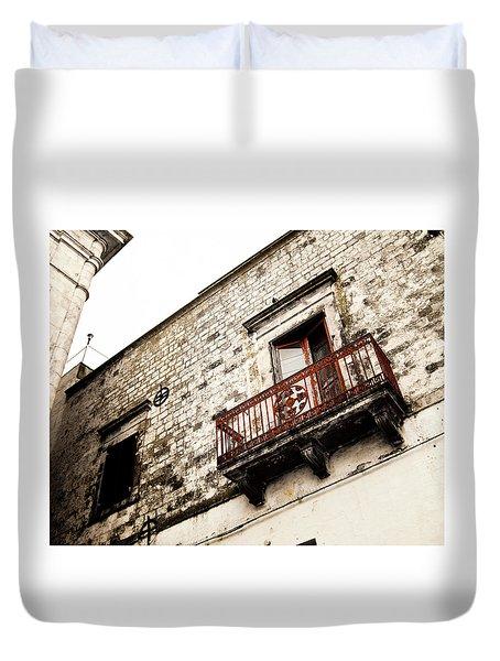Red Balcony Duvet Cover