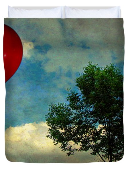 Red Balloon Duvet Cover