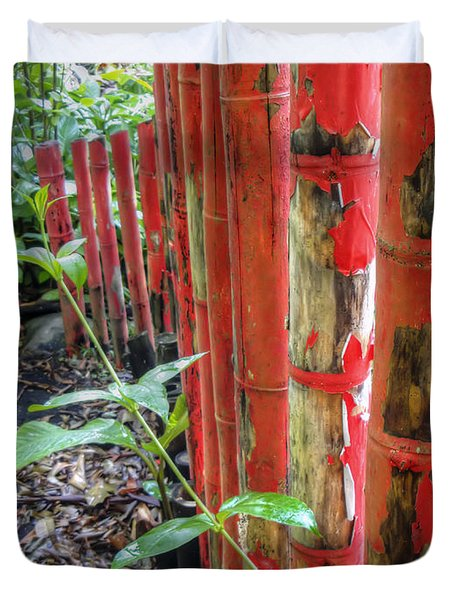 Red Bamboo Duvet Cover by Dolly Sanchez