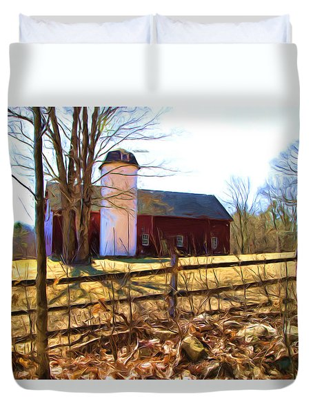 Red Barn And Silo  Duvet Cover