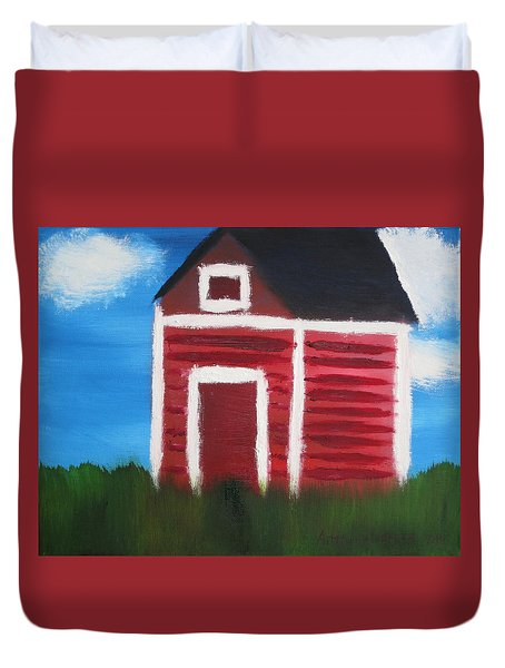 Duvet Cover featuring the painting Red Barn by Artists With Autism Inc