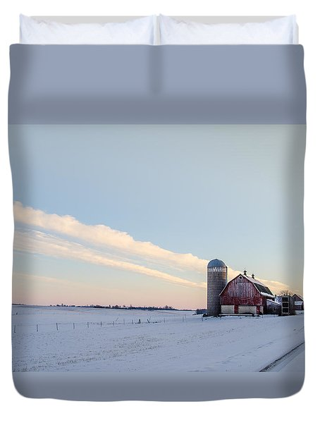Duvet Cover featuring the photograph Red Barn by Dan Traun