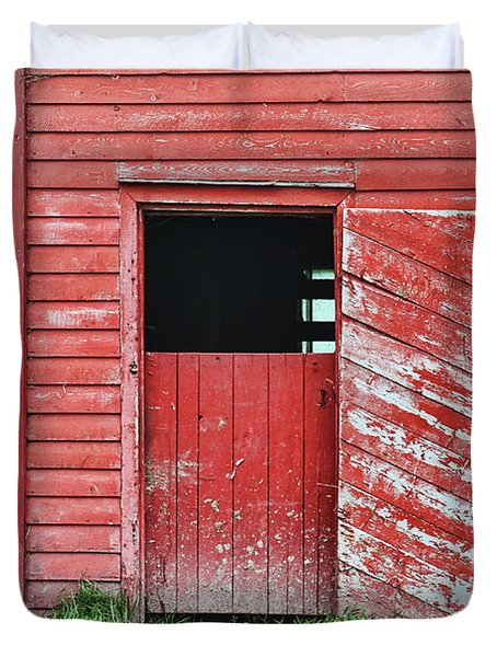 Red Barn Door Duvet Cover