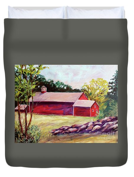 Duvet Cover featuring the painting Red Barn I by Priti Lathia