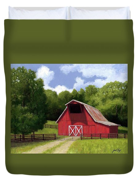 Red Barn In Franklin Tn Duvet Cover