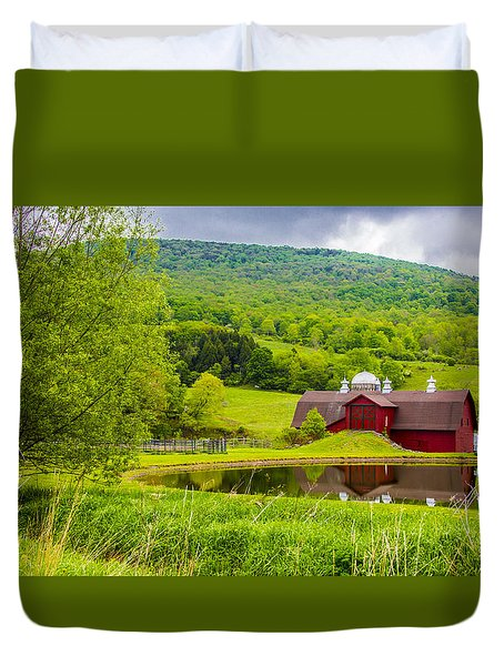 Duvet Cover featuring the photograph Red Barn In Green Mountains by Paula Porterfield-Izzo