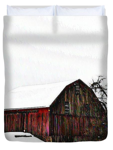 Red Barn In Snow Duvet Cover by Bill Cannon