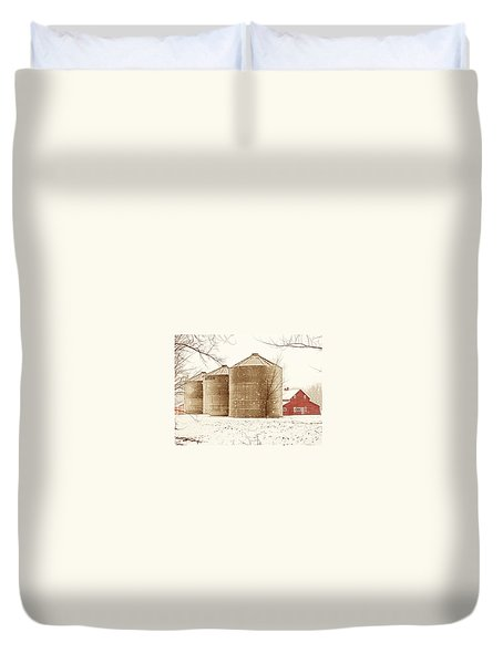 Red Barn In Snow Duvet Cover by Marilyn Hunt