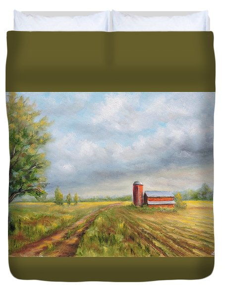 Red Barn In Spring Duvet Cover