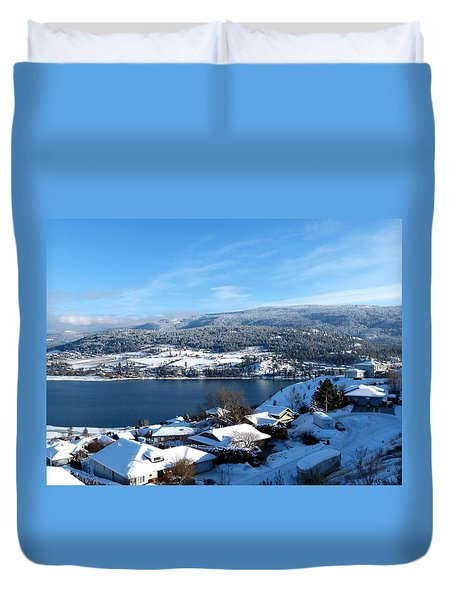 Red Barn In The Distance Duvet Cover by Will Borden