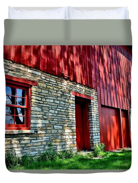 Red Barn In The Shade Duvet Cover